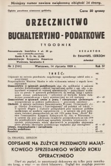 Orzecznictwo Buchalteryjno-Podatkowe : tygodnik. 1939, nr3