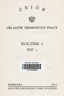 Zbiór Układów Zbiorowych Pracy. 1937, skorowidz