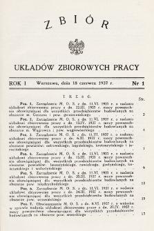 Zbiór Układów Zbiorowych Pracy. 1937, nr1