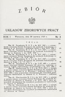 Zbiór Układów Zbiorowych Pracy. 1937, nr3