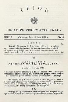 Zbiór Układów Zbiorowych Pracy. 1937, nr4