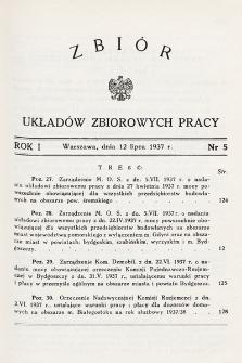 Zbiór Układów Zbiorowych Pracy. 1937, nr5