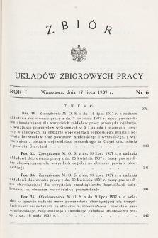 Zbiór Układów Zbiorowych Pracy. 1937, nr6