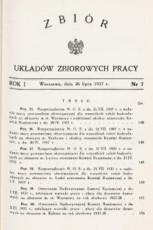 Zbiór Układów Zbiorowych Pracy. 1937, nr7
