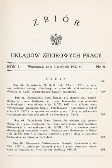 Zbiór Układów Zbiorowych Pracy. 1937, nr8