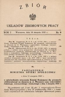 Zbiór Układów Zbiorowych Pracy. 1937, nr9