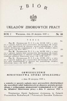 Zbiór Układów Zbiorowych Pracy. 1937, nr10