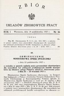 Zbiór Układów Zbiorowych Pracy. 1937, nr16