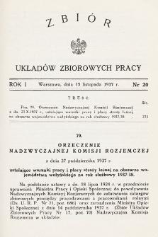 Zbiór Układów Zbiorowych Pracy. 1937, nr20