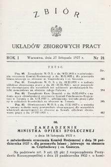 Zbiór Układów Zbiorowych Pracy. 1937, nr21