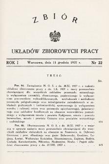 Zbiór Układów Zbiorowych Pracy. 1937, nr22