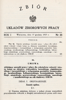 Zbiór Układów Zbiorowych Pracy. 1937, nr23