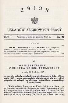 Zbiór Układów Zbiorowych Pracy. 1937, nr24