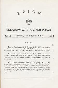 Zbiór Układów Zbiorowych Pracy. 1938, nr1