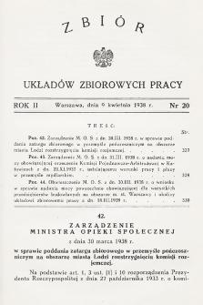 Zbiór Układów Zbiorowych Pracy. 1938, nr20