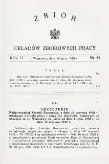 Zbiór Układów Zbiorowych Pracy. 1938, nr39