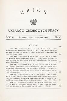 Zbiór Układów Zbiorowych Pracy. 1938, nr45