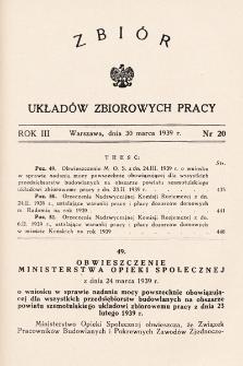 Zbiór Układów Zbiorowych Pracy. 1939, nr20