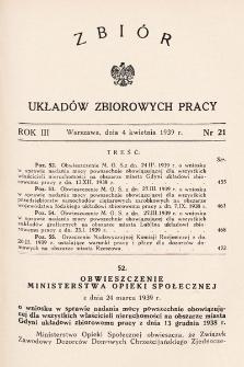 Zbiór Układów Zbiorowych Pracy. 1939, nr21