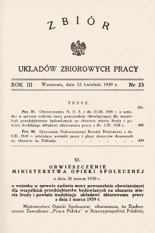 Zbiór Układów Zbiorowych Pracy. 1939, nr23