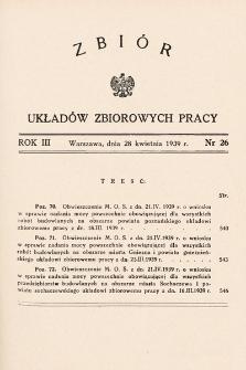 Zbiór Układów Zbiorowych Pracy. 1939, nr26