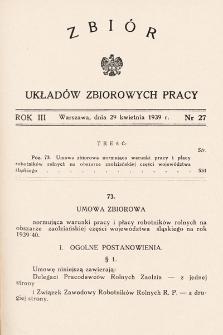 Zbiór Układów Zbiorowych Pracy. 1939, nr27