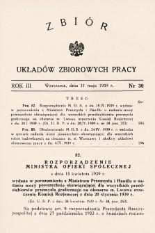 Zbiór Układów Zbiorowych Pracy. 1939, nr30