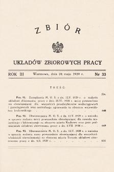 Zbiór Układów Zbiorowych Pracy. 1939, nr33