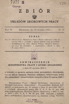 Zbiór Układów Zbiorowych Pracy. 1948, nr10