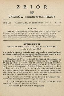 Zbiór Układów Zbiorowych Pracy. 1949, nr10