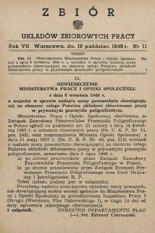 Zbiór Układów Zbiorowych Pracy. 1949, nr11
