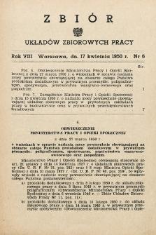 Zbiór Układów Zbiorowych Pracy. 1950, nr6
