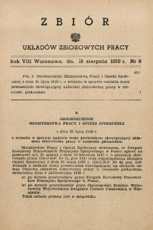 Zbiór Układów Zbiorowych Pracy. 1950, nr8