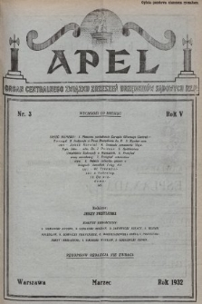 Apel : organ Centralnego Związku Zrzeszeń Urzędników Sądowych Rzplitej Polskiej. 1932, nr3