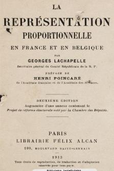 La représentation proportionnelle en France et en Belgique