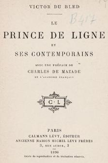 Le prince de Ligne et ses contemporains