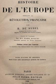 Histoire de l'Europe pendant la Révolution française. T. 6 et dernier