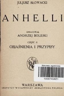 Anhelli. Cz. 2, Objaśnienia i przypisy