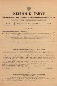 Dziennik Taryf Pocztowych, Teletechnicznych i Radjokomunikacyjnych. 1934, nr 4