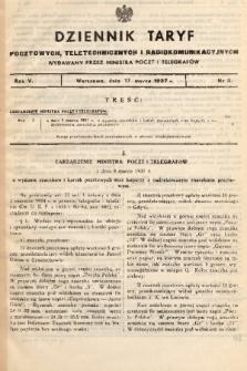 Dziennik Taryf Pocztowych, Teletechnicznych i Radjokomunikacyjnych. 1937, nr 3