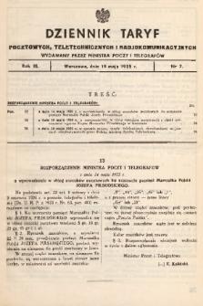 Dziennik Taryf Pocztowych, Teletechnicznych i Radjokomunikacyjnych. 1935, nr7