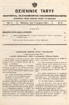 Dziennik Taryf Pocztowych, Teletechnicznych i Radjokomunikacyjnych. 1935, nr15