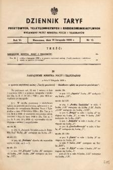 Dziennik Taryf Pocztowych, Teletechnicznych i Radjokomunikacyjnych. 1938, nr 13