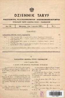 Dziennik Taryf Pocztowych, Teletechnicznych i Radjokomunikacyjnych. 1939, nr 1
