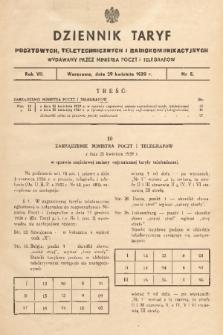 Dziennik Taryf Pocztowych, Teletechnicznych i Radjokomunikacyjnych. 1939, nr 5