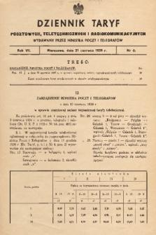 Dziennik Taryf Pocztowych, Teletechnicznych i Radjokomunikacyjnych. 1939, nr 6