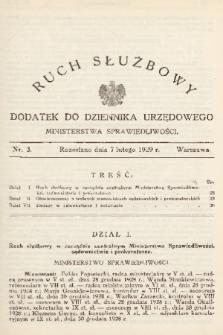 Ruch Służbowy : dodatek do Dziennika Urzędowego Ministerstwa Sprawiedliwości. 1929, nr 3