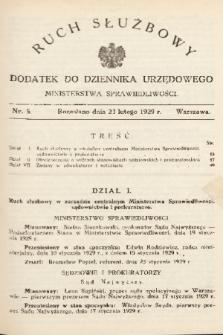 Ruch Służbowy : dodatek do Dziennika Urzędowego Ministerstwa Sprawiedliwości. 1929, nr 5