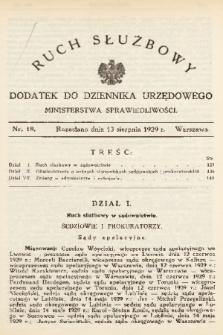 Ruch Służbowy : dodatek do Dziennika Urzędowego Ministerstwa Sprawiedliwości. 1929, nr 18