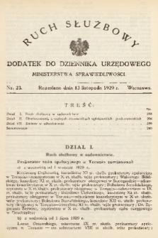 Ruch Służbowy : dodatek do Dziennika Urzędowego Ministerstwa Sprawiedliwości. 1929, nr 23